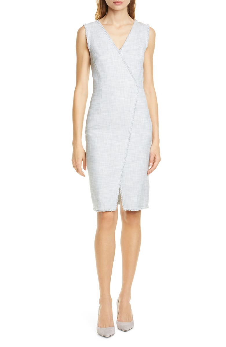 TAILORED BY REBECCA TAYLOR Cotton Blend Slub Sleeveless Sheath Dress, Main, color, GREY/ SNOW