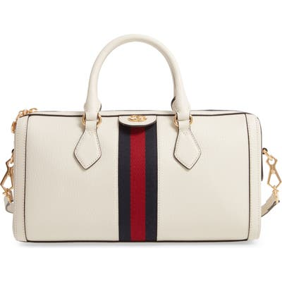 Gucci Ophidia Leather Top Handle Bag - White