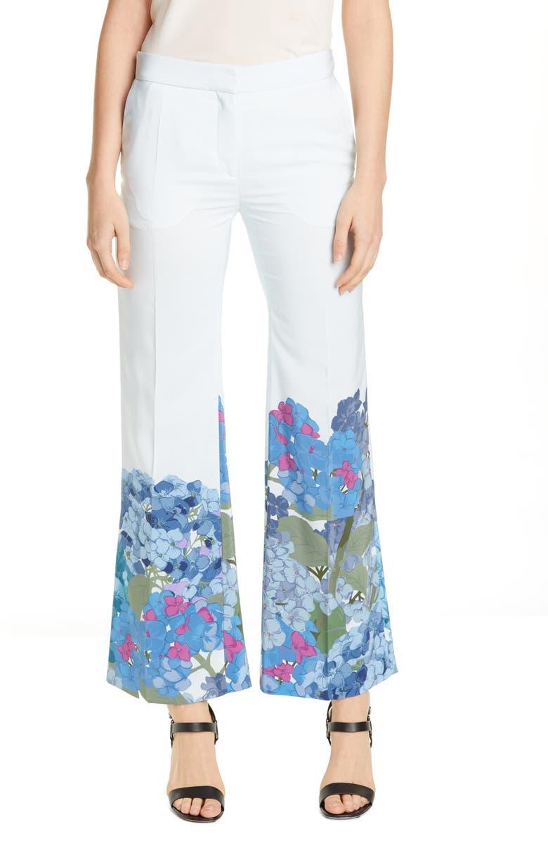 VALENTINO Hydrangea Print Silk Crêpe de Chine Pants, Main, color, 400