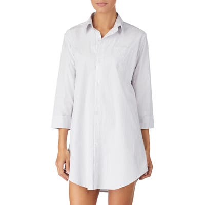 Lauren Ralph Lauren Cotton Poplin Sleep Shirt, Grey