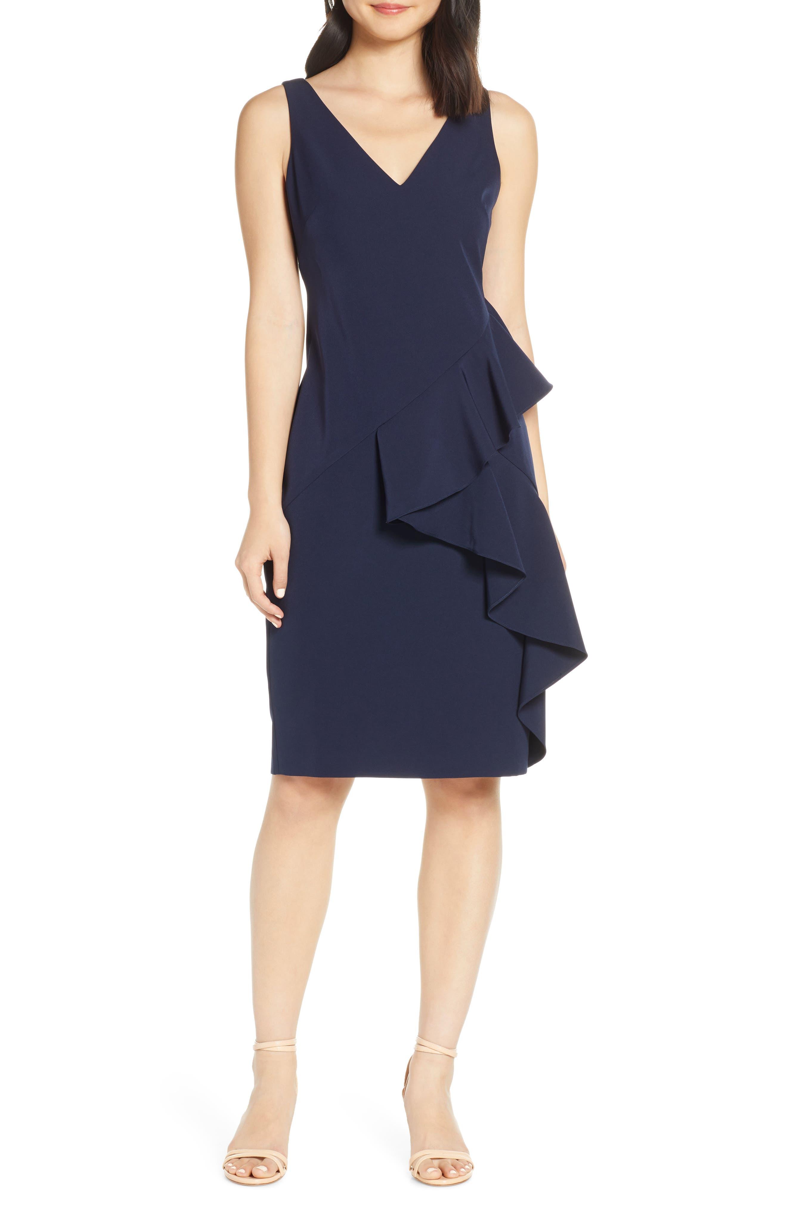 Eliza J Ruffle Detail Crepe Sheath Dress, Blue