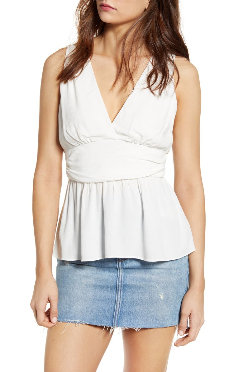 SOCIALITE Surplice Shirred Waist Top, Main, color, WHITE