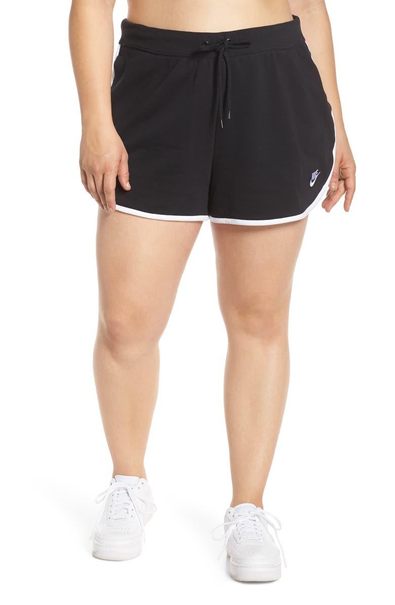 NIKE Sportswear Heritage Fleece Shorts, Main, color, BLACK/ WHITE/ WHITE