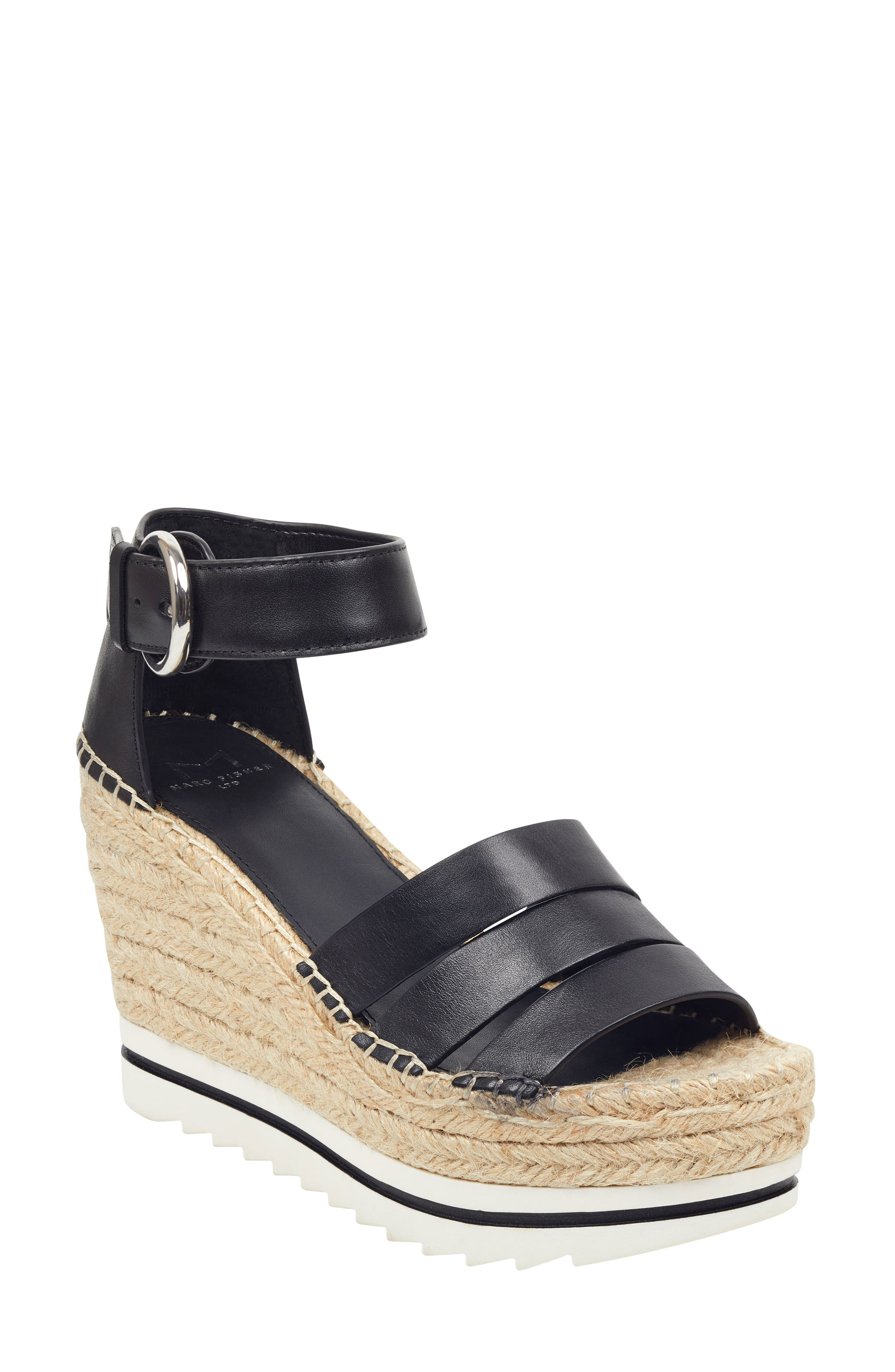 ,                             Sammy Espadrille Wedge Sandal,                             Main thumbnail 1, color,                             BLACK LEATHER