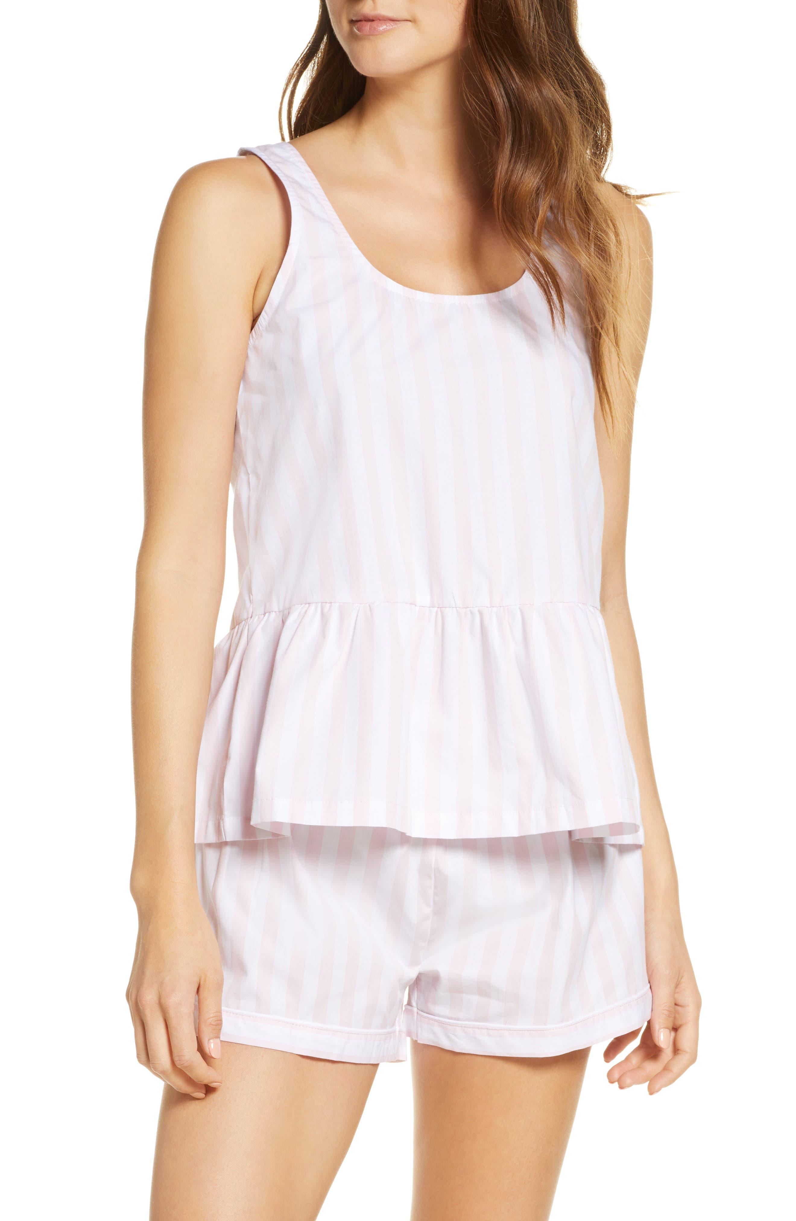 Retro Lingerie – Where to Shop Womens Sant And Abel Braddock Stripe Peplum Short Pajamas $125.00 AT vintagedancer.com