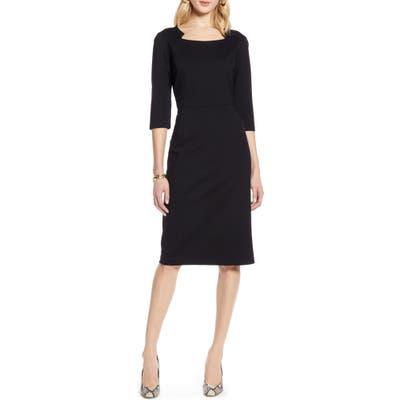 Petite Halogen Ponte Sheath Dress, Black