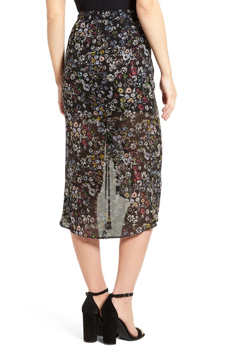 REBECCA MINKOFF Romy Floral Print Skirt, Main, color, 003