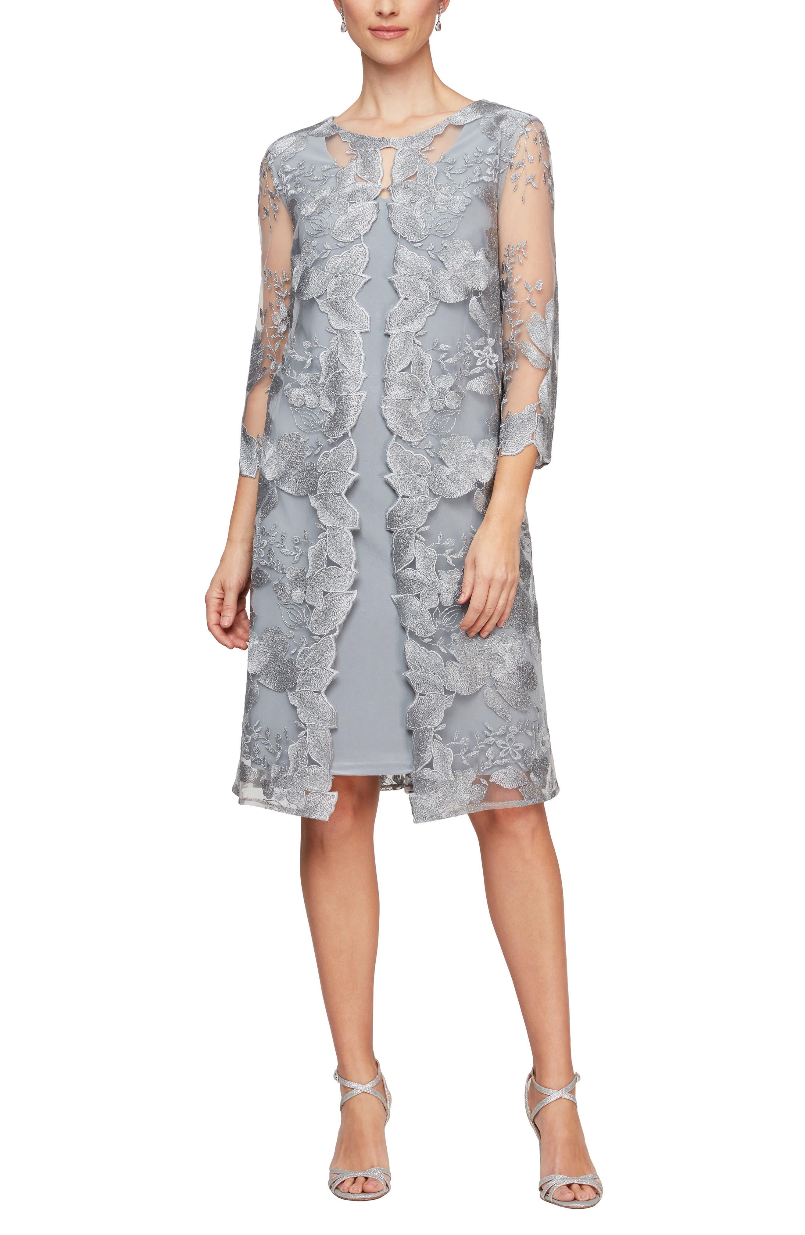 60s Dresses | 1960s Dresses Mod, Mini, Hippie Womens Alex Evenings Embroidered Mock Jacket Cocktail Dress Size 18 - Grey $99.50 AT vintagedancer.com