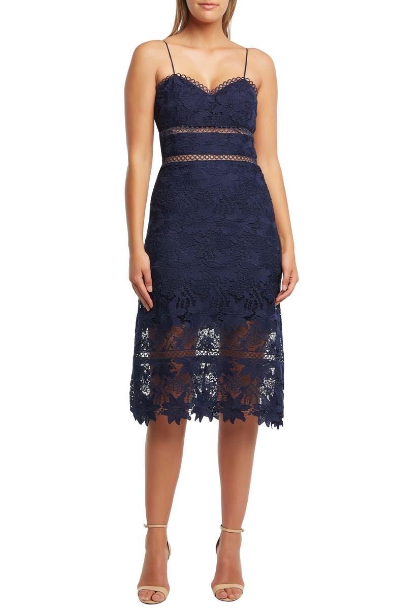 BARDOT Koko Lace Tea Length Dress, Main, color, NAVY
