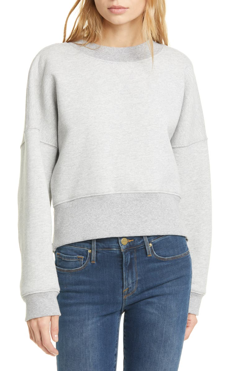 FRAME Side Zip Drop Shoulder Cotton Blend Sweatshirt, Main, color, GRIS HEATHER