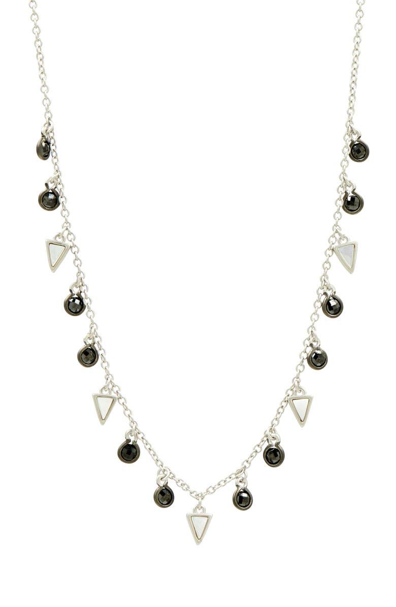 FREIDA ROTHMAN Industrial Finish Charm Necklace, Main, color, SILVER/ BLACK