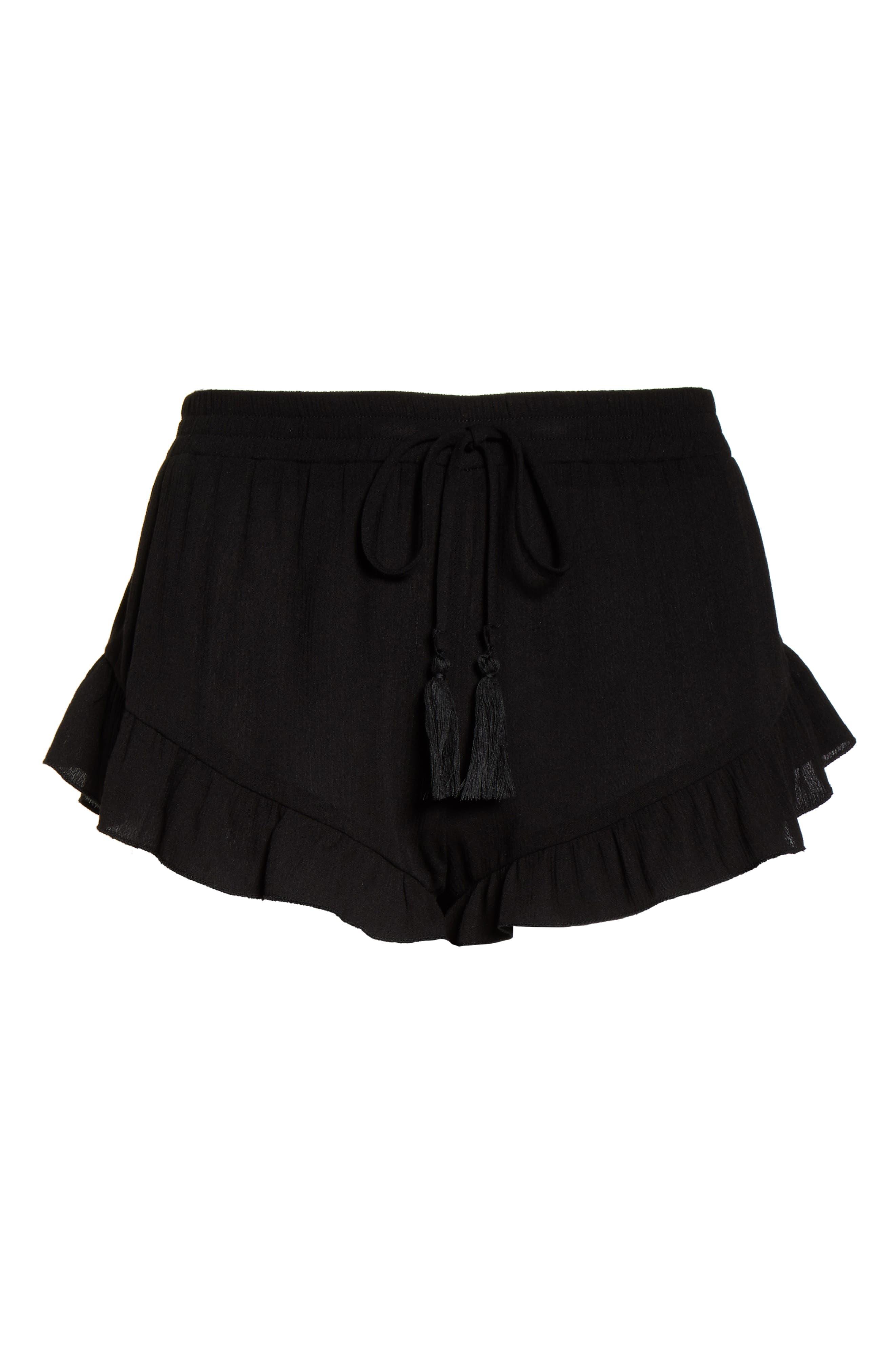 ,                             Flounce Cover-Up Shorts,                             Alternate thumbnail 7, color,                             BLACK