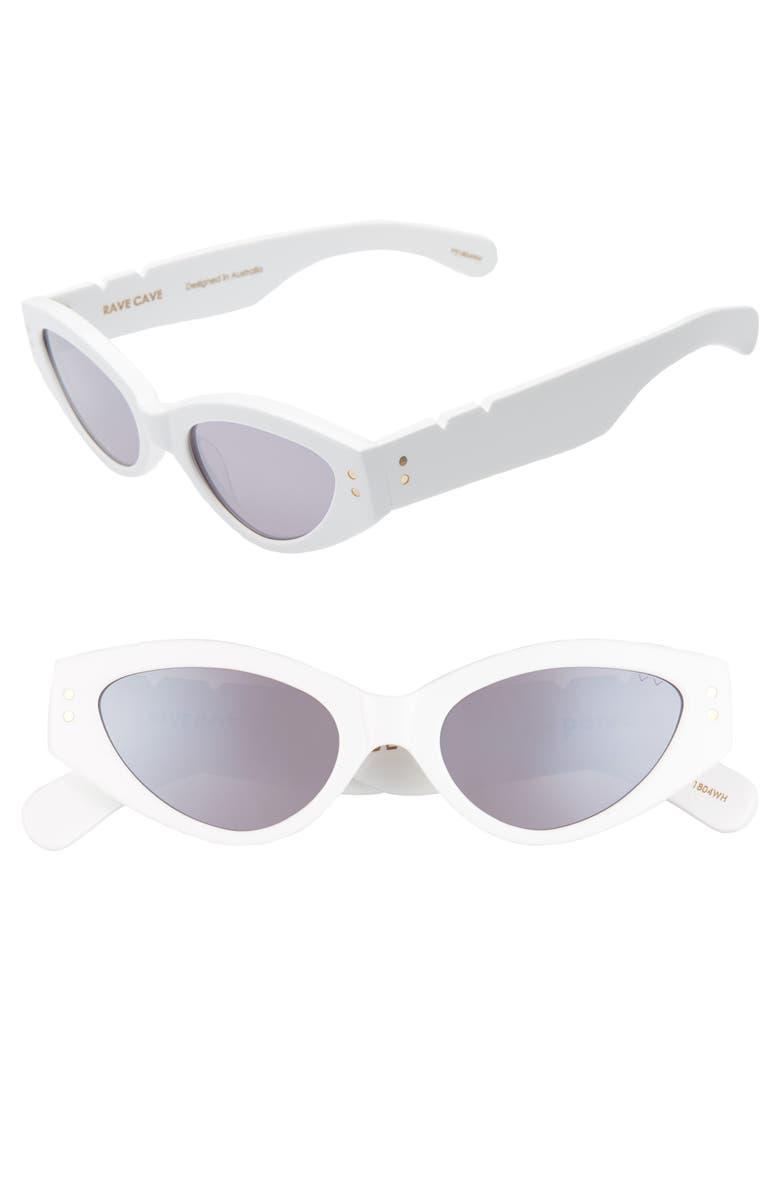 PARED x Bec + Bridge Rave Cave 49mm Cat Eye Sunglasses, Main, color, WHITE/ SILVER MIRROR