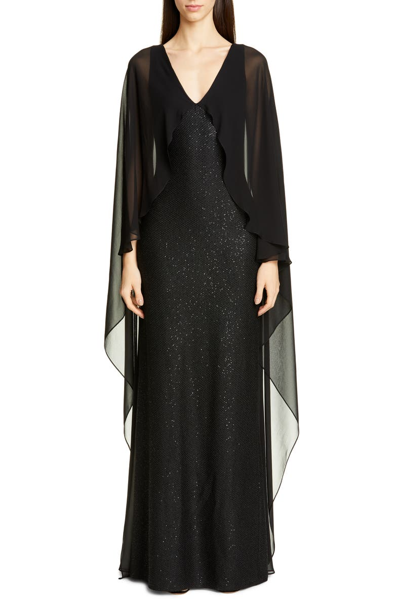 ST. JOHN COLLECTION Sculpted Sequin Tuck Knit Gown, Main, color, CAVIAR