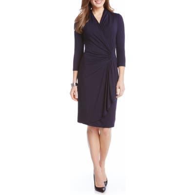 Karen Kane Cascade Faux Wrap Dress, Blue