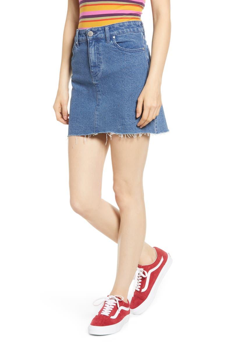 PROSPERITY DENIM Seam Detail Denim Skirt, Main, color, MEDIUM WASH