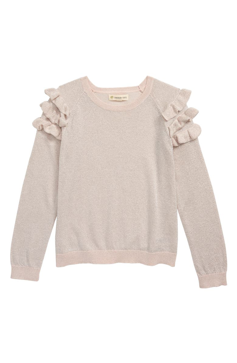 TUCKER + TATE Ruffle Sleeve Sparkle Sweater, Main, color, PINK ENGLISH SPARKLE