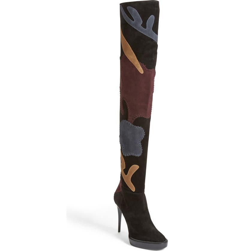 BURBERRY 'Allison' Patchwork Thigh High Boot, Main, color, 007