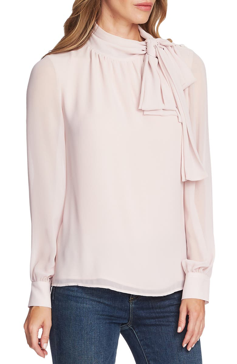 VINCE CAMUTO Tie Neck Long Sleeve Chiffon Blouse, Main, color, SOFT PINK