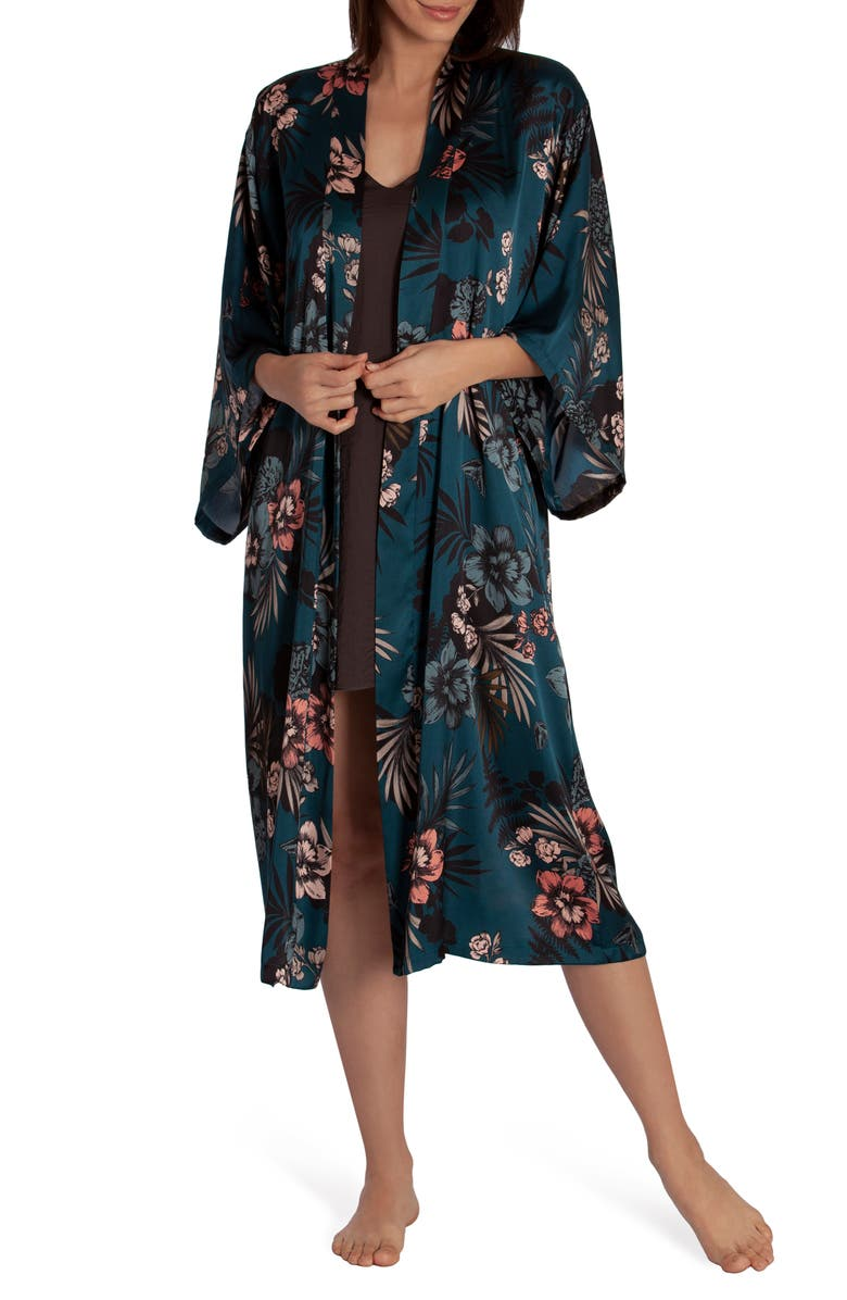 MIDNIGHT BAKERY Floral Print Satin Duster, Main, color, DARK TEAL