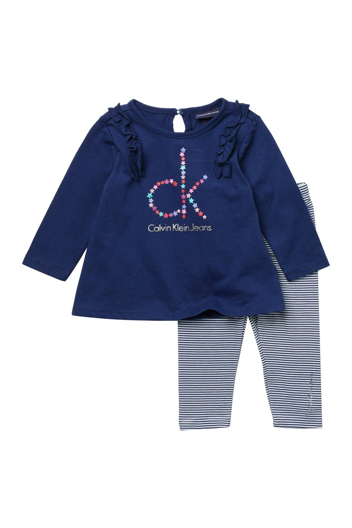Image of Calvin Klein Long Sleeve Top & Striped Leggings Set