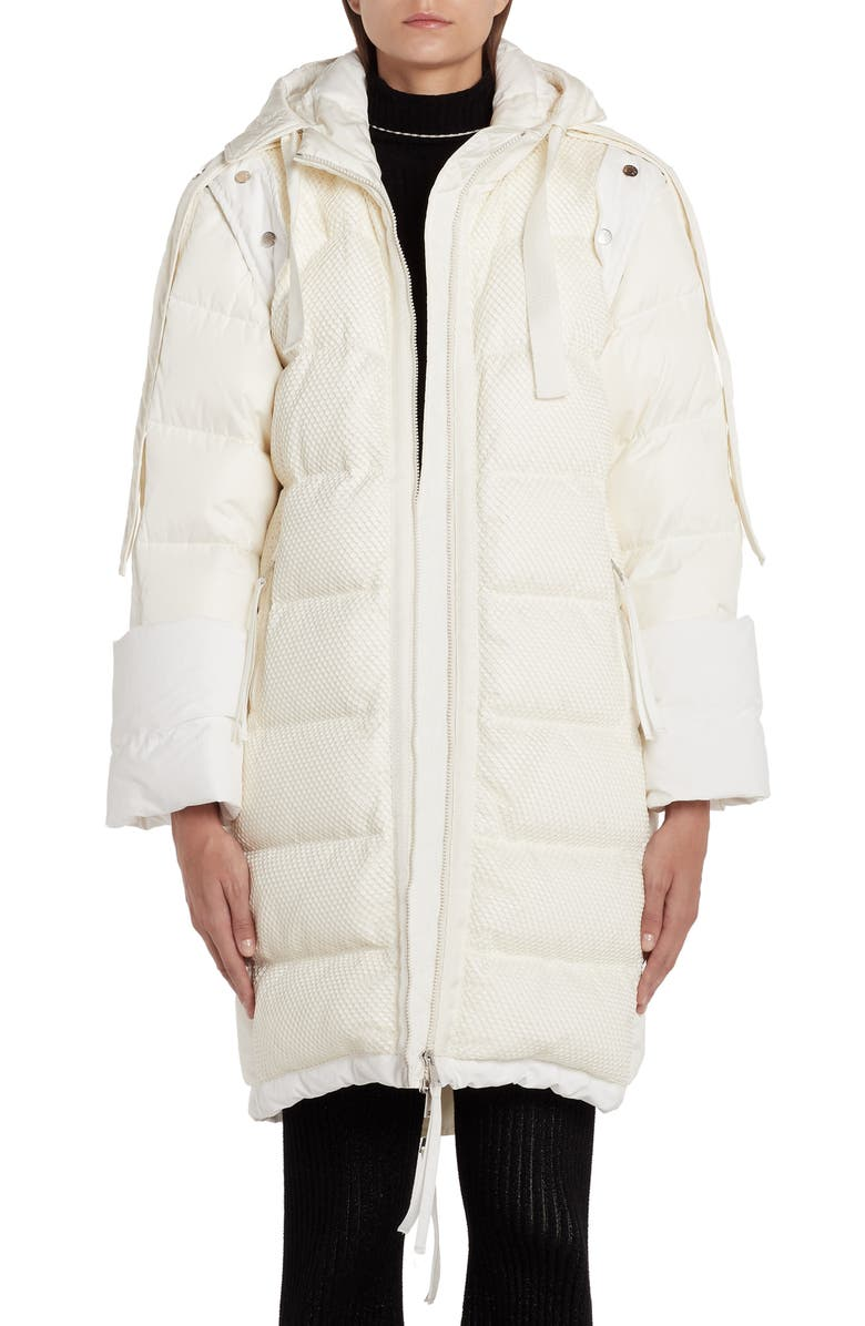 MONCLER GENIUS x 2 Moncler 1952 Narvalong Net Overlay Convertible 2-in-1 Down Puffer Coat, Main, color, WHITE