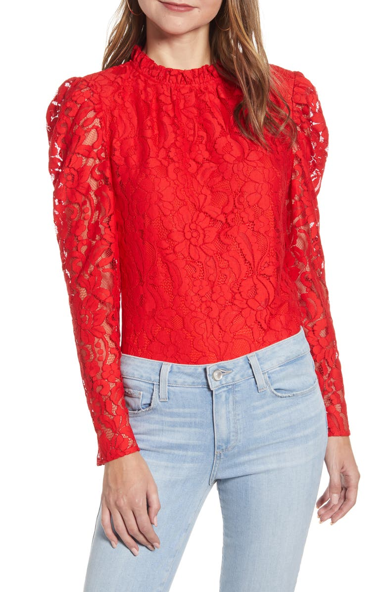 RACHEL PARCELL Ruffle Neck Lace Top, Main, color, RED SCARLET