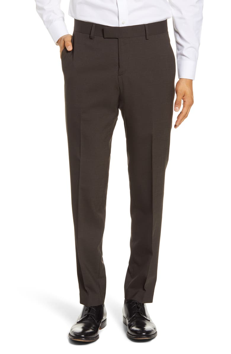 TIGER OF SWEDEN Flat Front Solid Stretch Wool Trousers, Main, color, SEA TURTLE