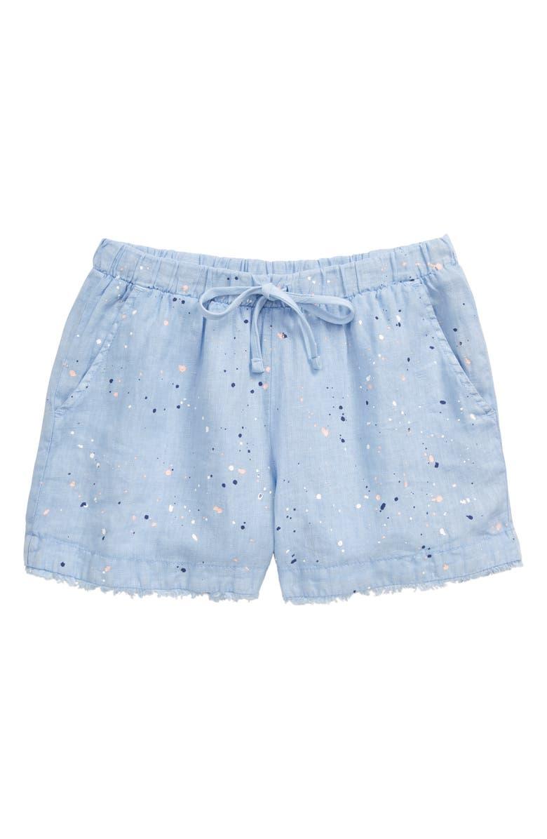 BELLA DAHL Fray Splatter Linen Shorts, Main, color, 450