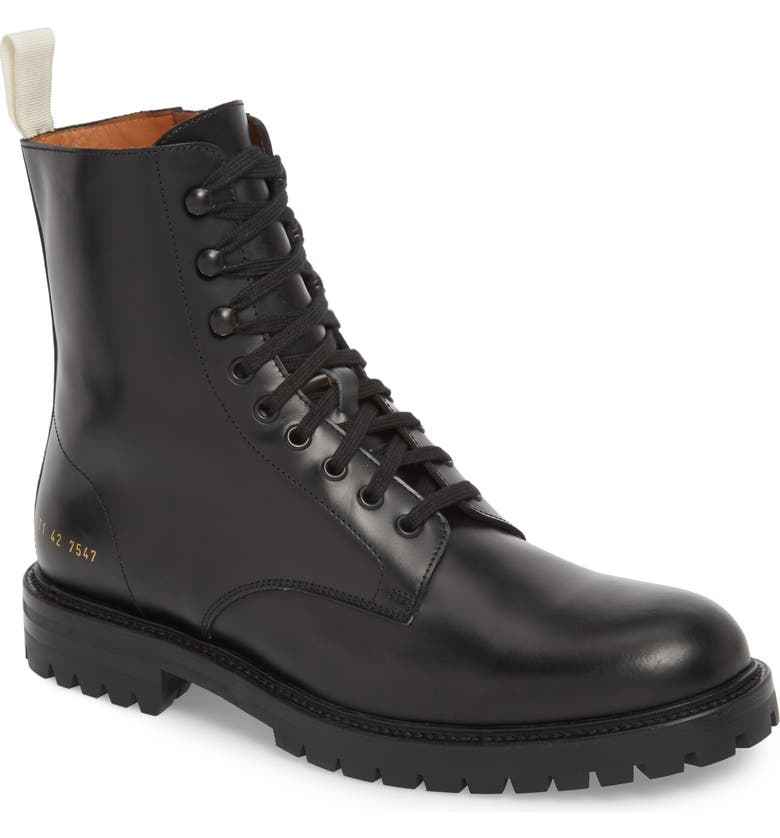 COMMON PROJECTS Zipper Combat Boot, Main, color, BLACK LEATHER
