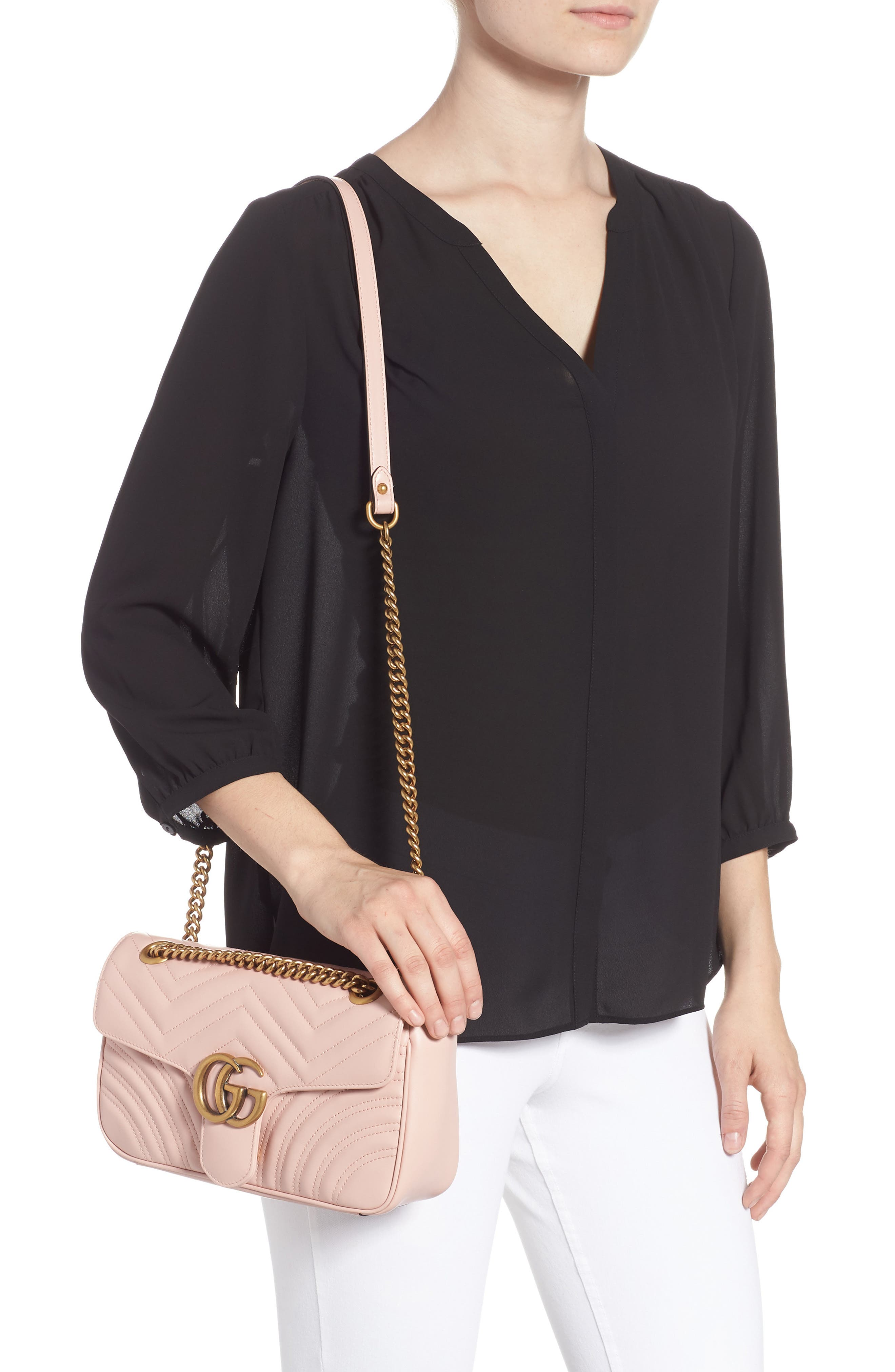 ,                             Small GG Marmont 2.0 Matelassé Leather Shoulder Bag,                             Alternate thumbnail 2, color,                             PERFECT PINK/ PERFECT PINK
