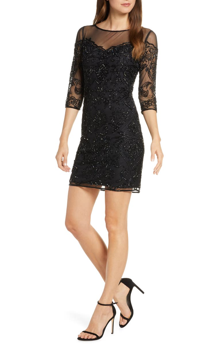 PISARRO NIGHTS Beaded Illusion Mesh Sheath Dress, Main, color, BLACK/ MERCURY