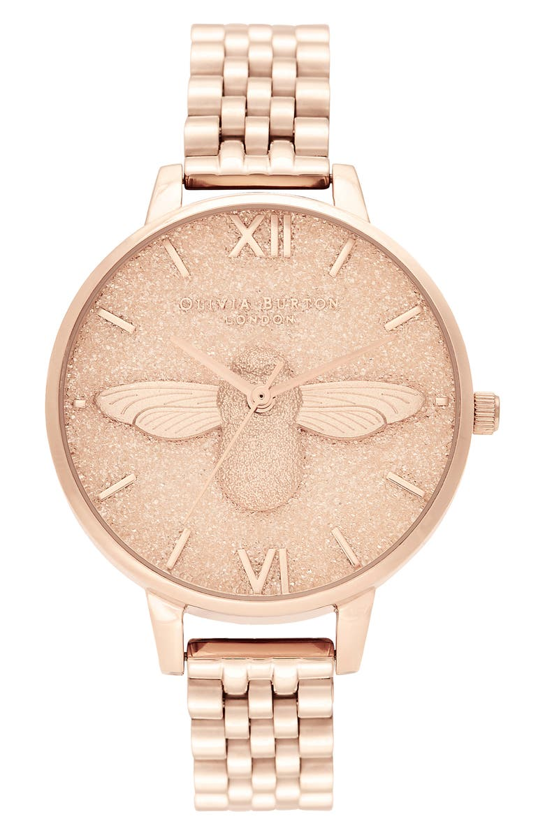 OLIVIA BURTON Glitter Dial Bracelet Watch, 34mm, Main, color, ROSE GOLD
