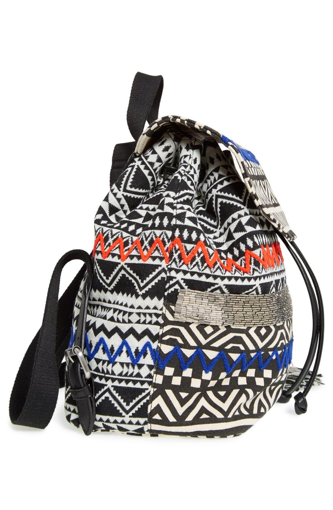 ,                             'Bella' Woven Backpack,                             Alternate thumbnail 3, color,                             001