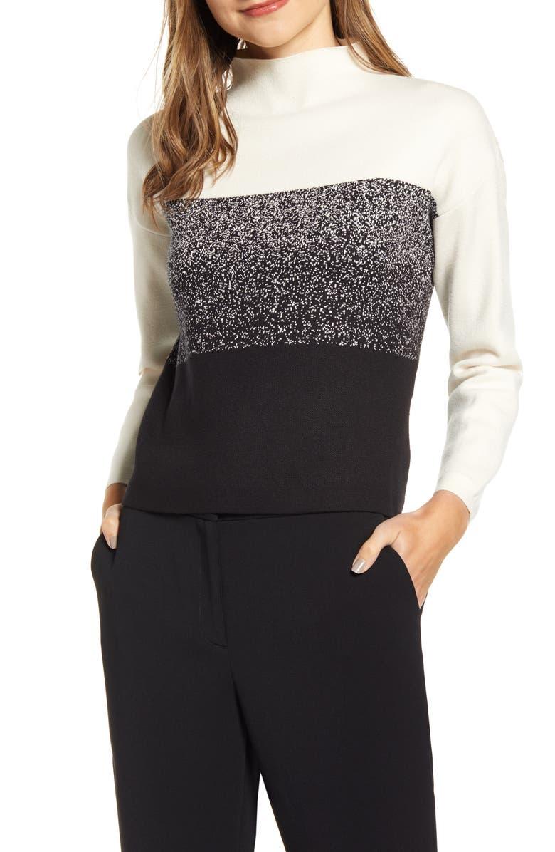 ANNE KLEIN Ombré Funnel Neck Sweater, Main, color, ANNE WHITE/ ANNE BLACK