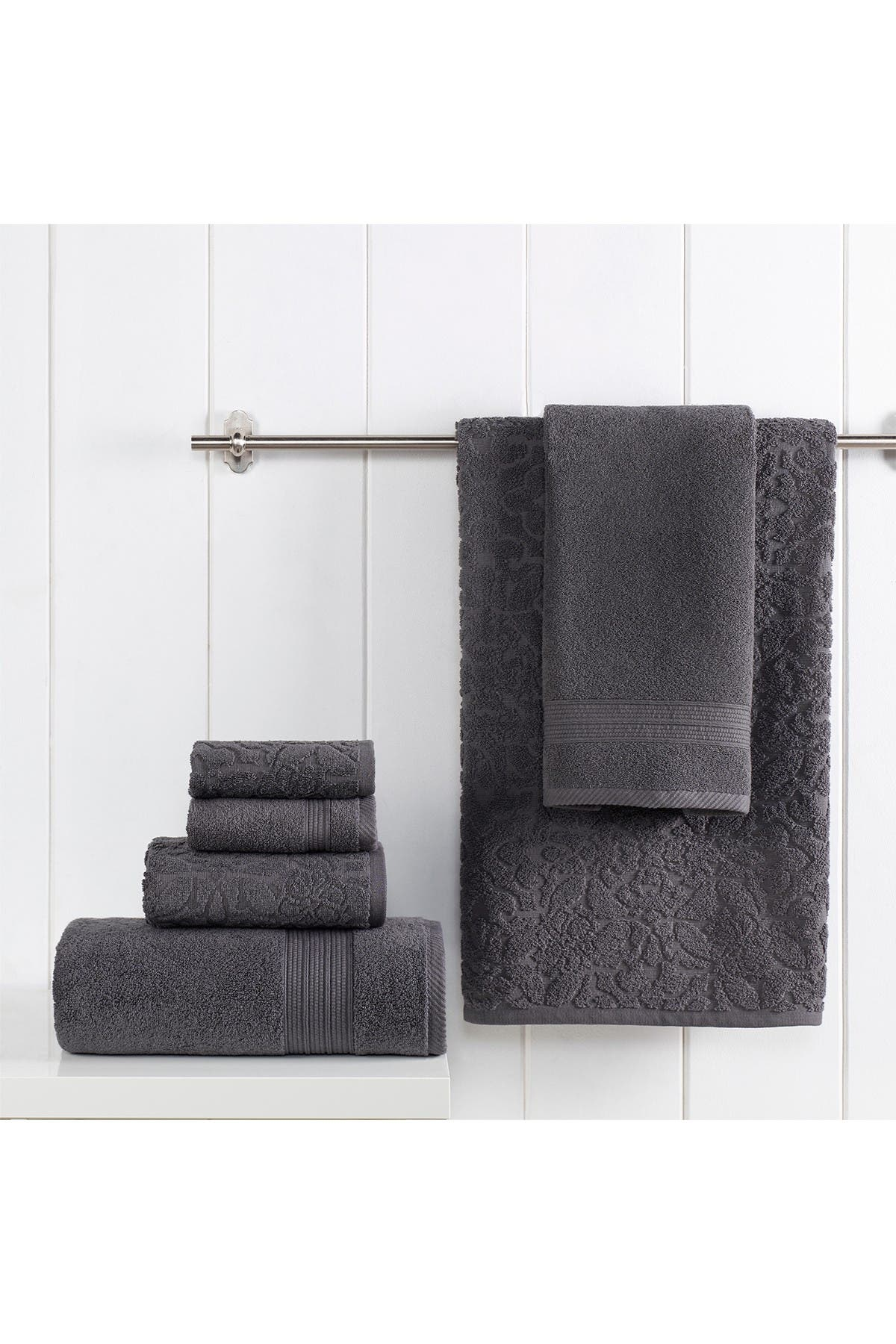 Modern Threads Jacquard Turkish Made 6-Piece Towel Set - Coal at Nordstrom Rack