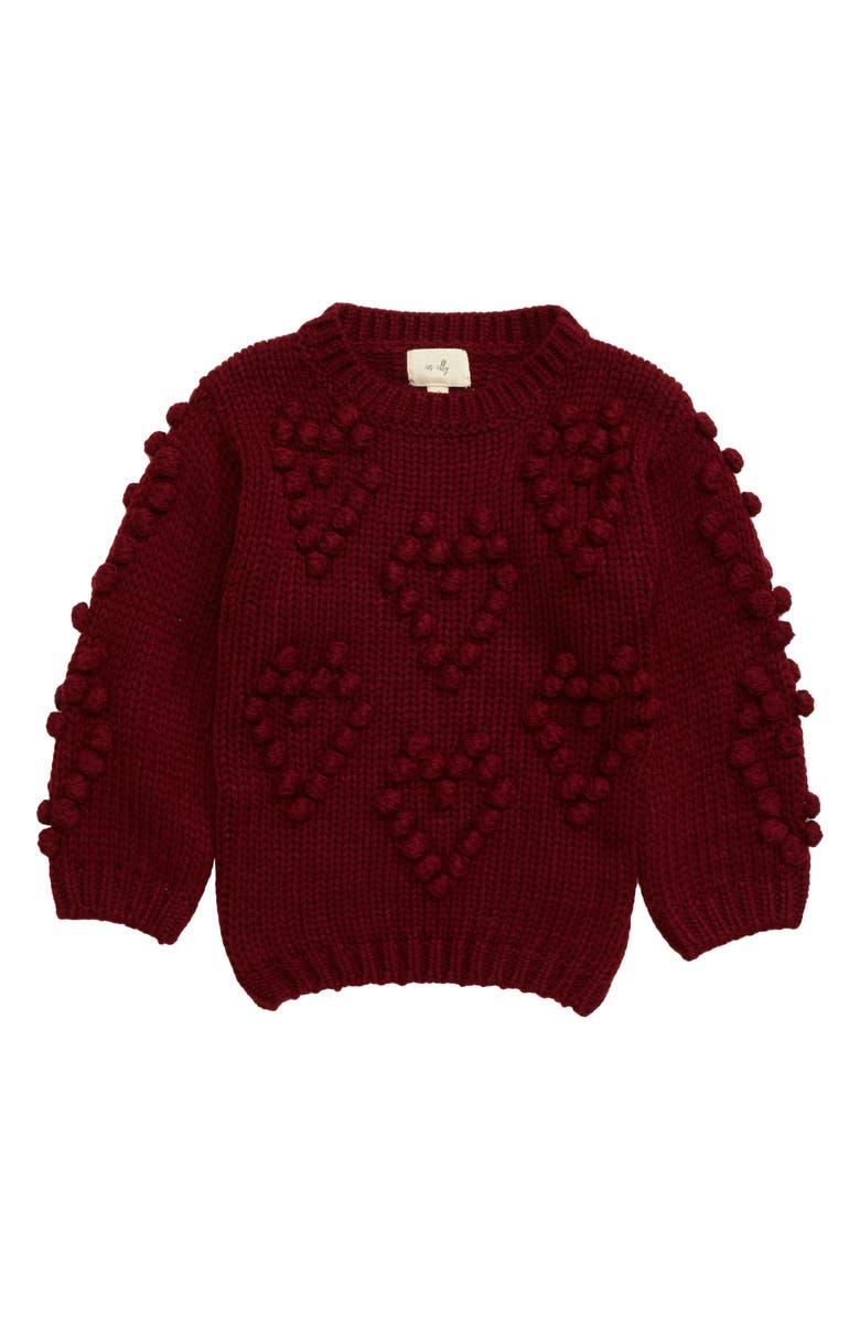EN ELLY Pom Hearts Sweater, Main, color, 600