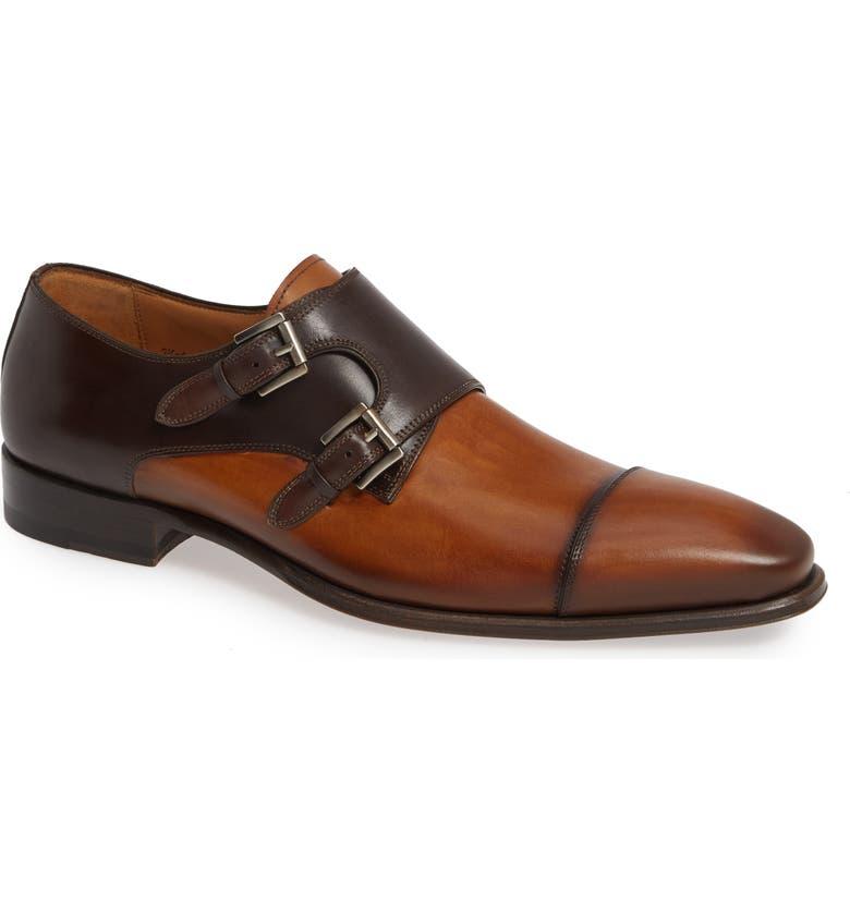 MEZLAN Bardem Double Monk Strap Shoe, Main, color, TAN/ BROWN LEATHER