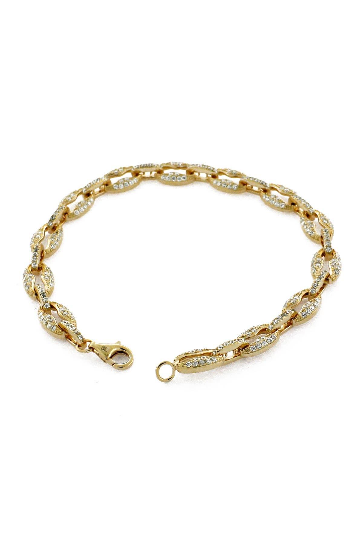 Image of Suzy Levian Pave CZ Gold Plated Sterling Silver Link Bracelet