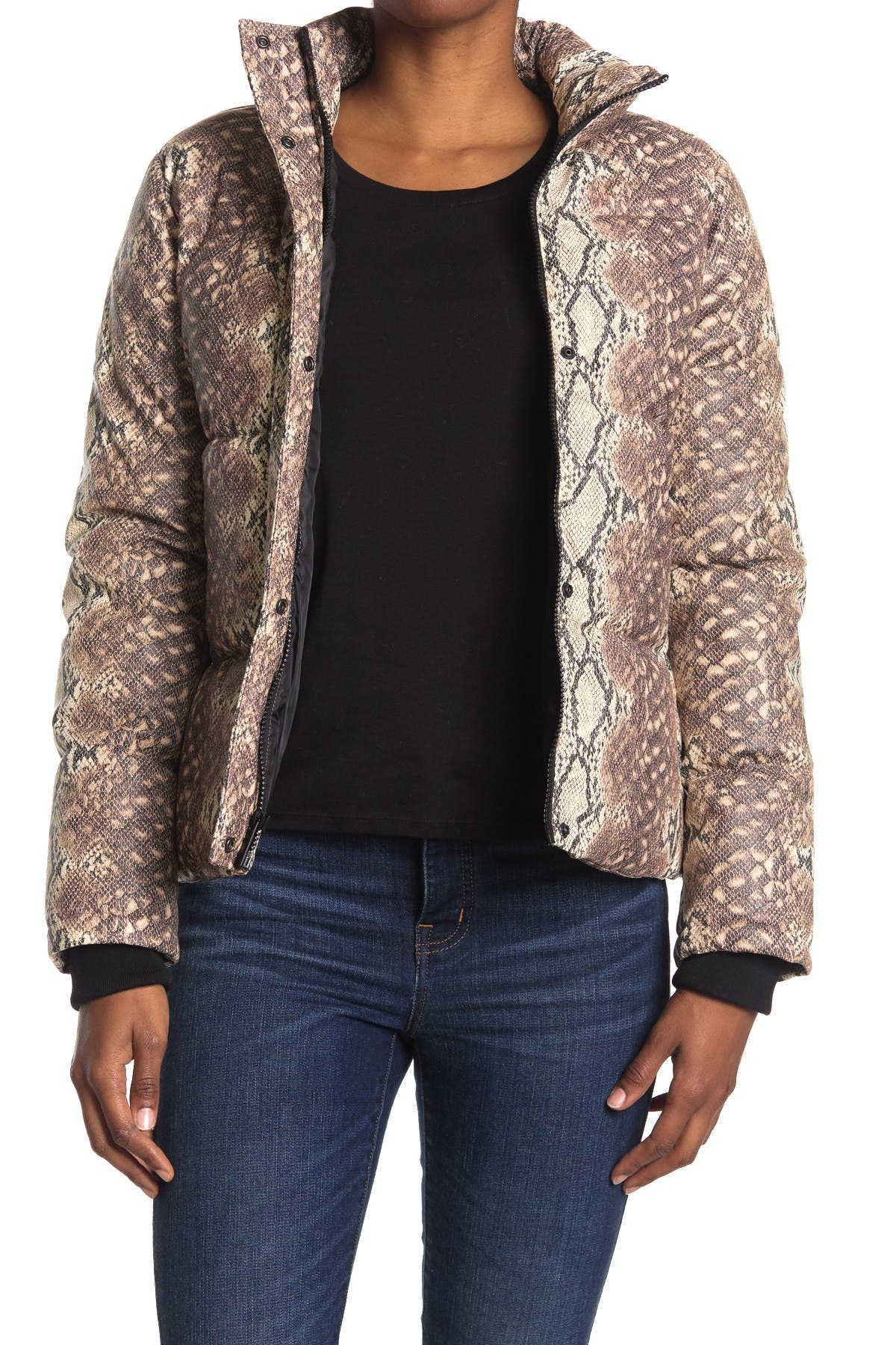 Image of Andrew Marc Faux Leather Puffer Jacket