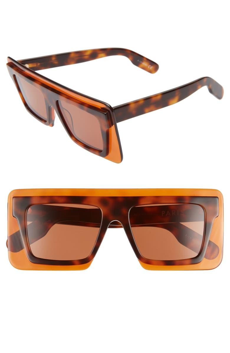 KENZO 53mm International Fit Square Sunglasses, Main, color, 205
