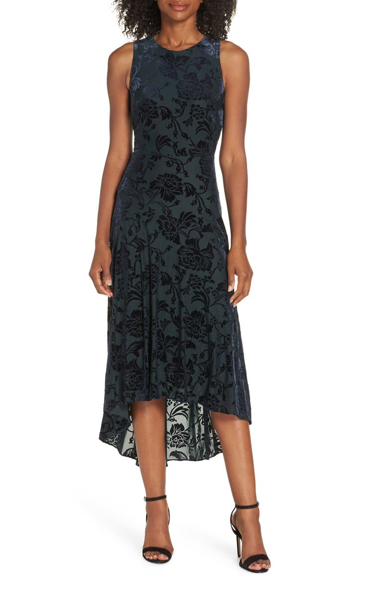 VINCE CAMUTO Burnout Velvet High/Low Dress, Main, color, NAVY/ GREEN