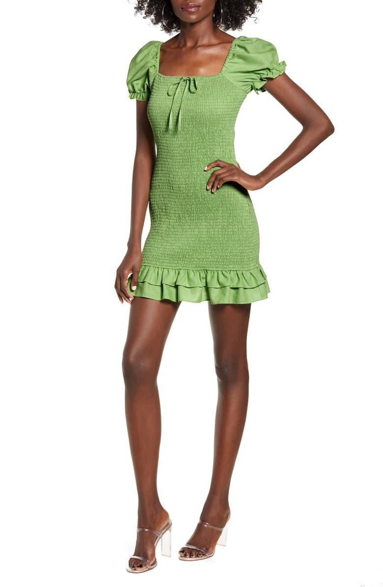ENGLISH FACTORY Smocked Minidress, Main, color, GREEN