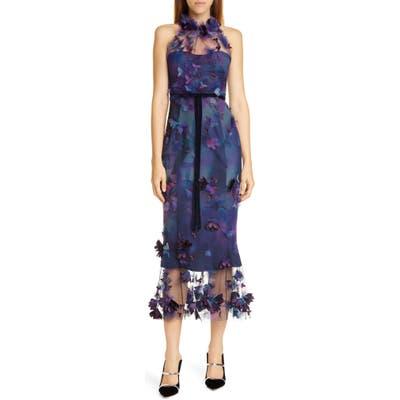 Marchesa Notte Floral Applique Halter Tulle Cocktail Dress, Blue