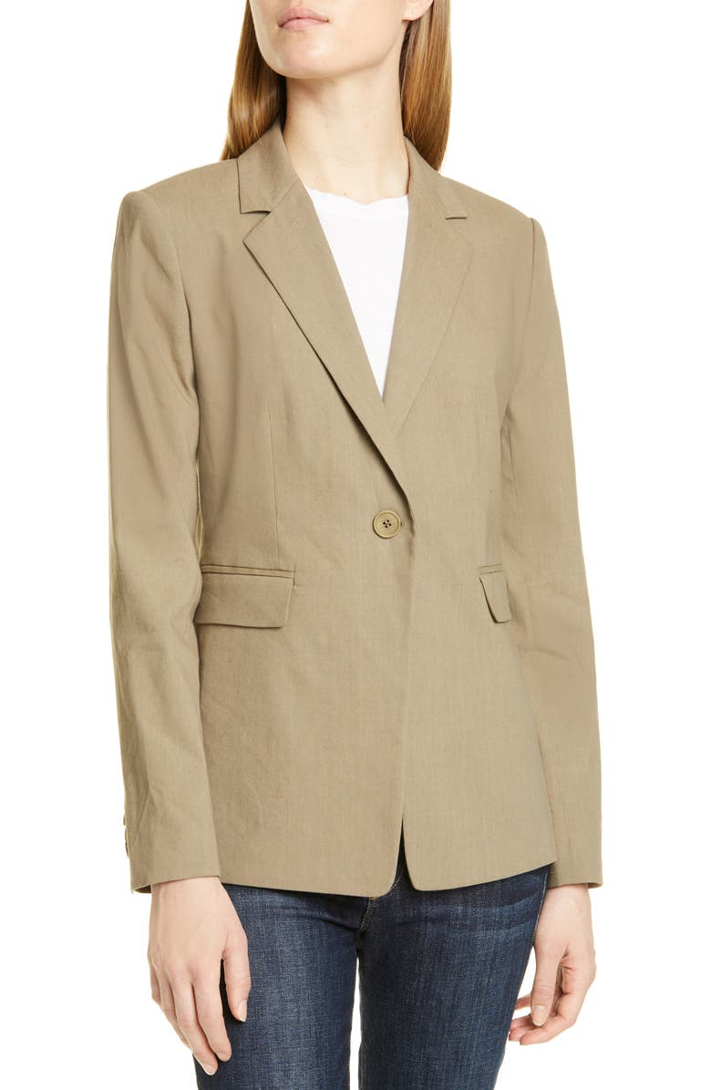 NORDSTROM SIGNATURE One-Button Blazer, Main, color, OLIVE SILVER