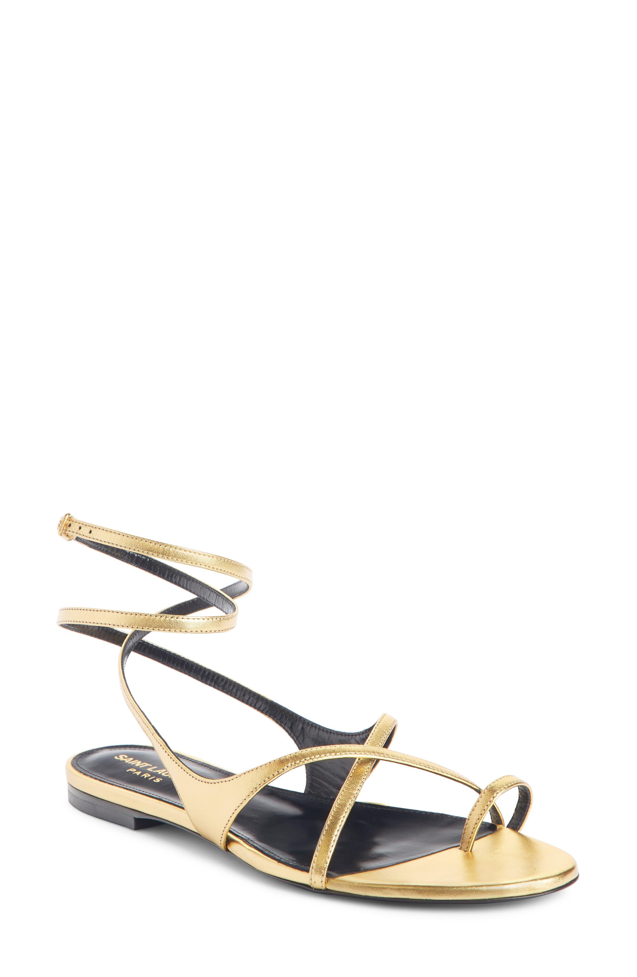 Saint Laurent Gia Nu Pieds Sandal, Metallic