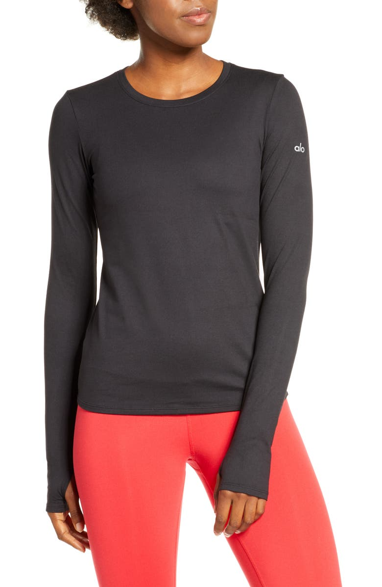 ALO Finesse Long Sleeve Top, Main, color, 001