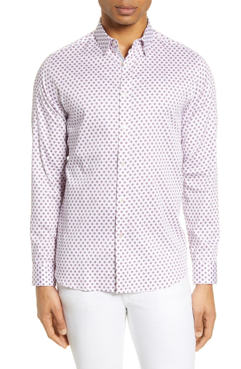 TED BAKER LONDON Posee Medallion Print Button-Up Shirt, Main, color, 110