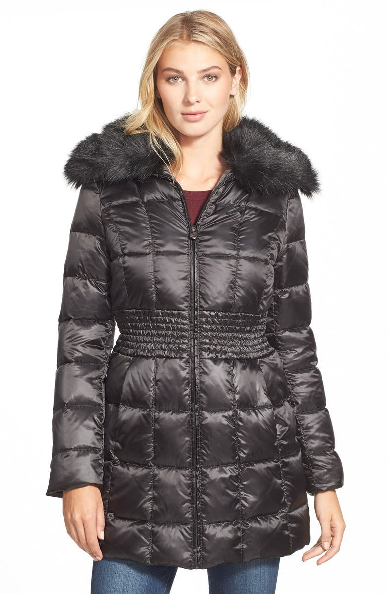 LAUNDRY BY SHELLI SEGAL Laundry by ShelliSegalFauxFur Collar RuchedWaist Down & Feather Fill Coat, Main, color, 001