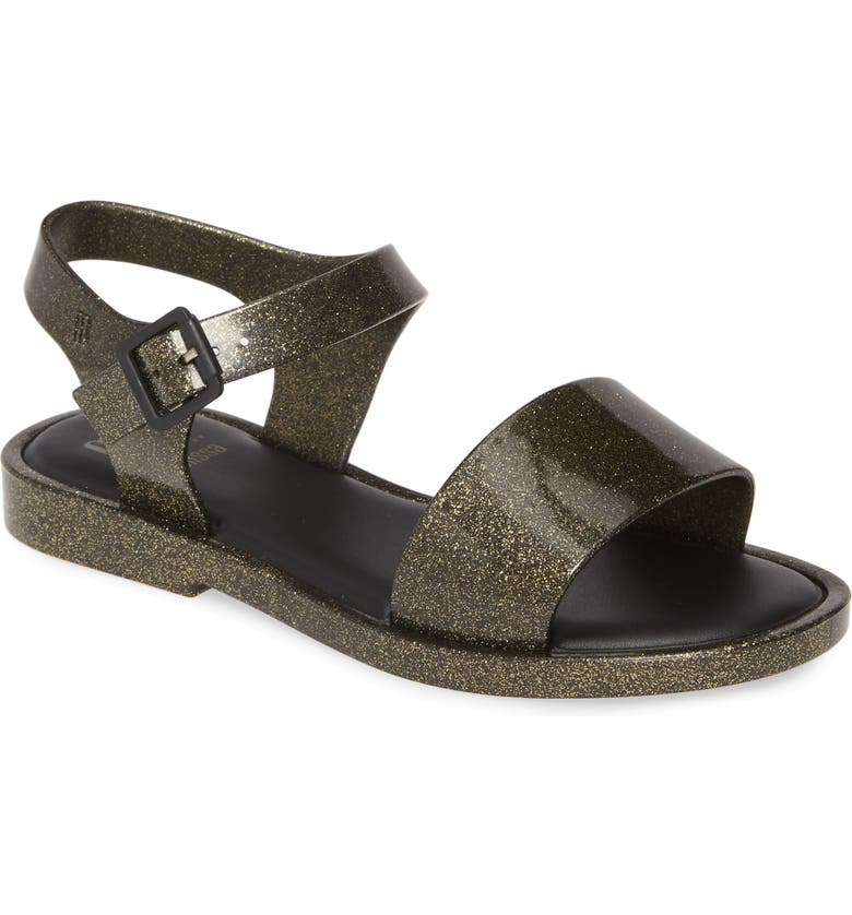 MEL BY MELISSA Mel Mar Sandal, Main, color, GOLD GLITTER/ BLACK